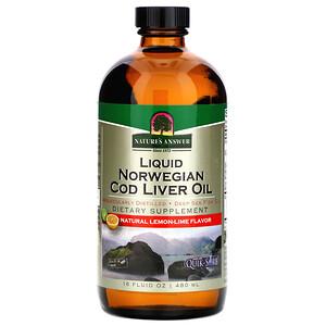 Натурес Ансвер, Liquid Norwegian Cod Liver Oil, Natural Lemon-Lime Flavor, 16 fl oz (480 ml) отзывы покупателей