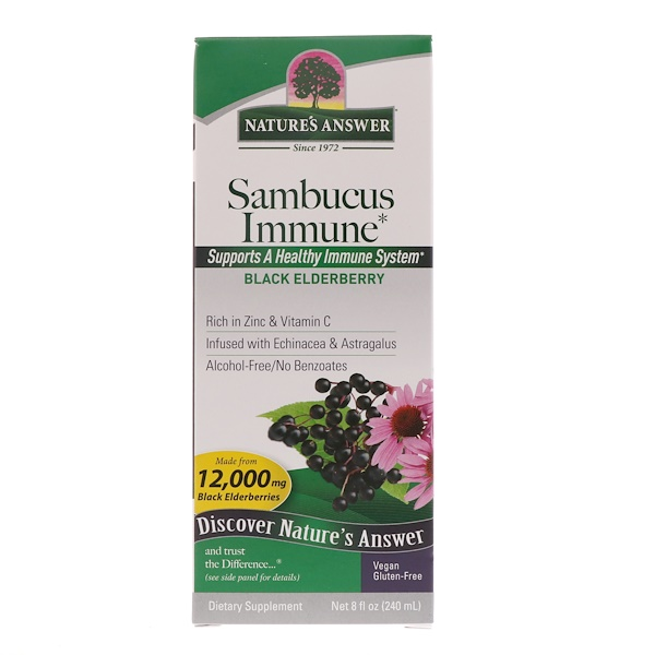 Nature's Answer, Sambucus Immune, Com Infusão de Equinácea e Astrágalo, 12.000 mg, 240 ml (8 fl oz)