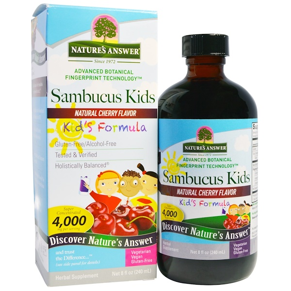 Nature's Answer, Sambucus Kid's Formula, Natural Cherry Flavor, 4,000 mg, 8 fl oz (240 ml) (Discontinued Item)