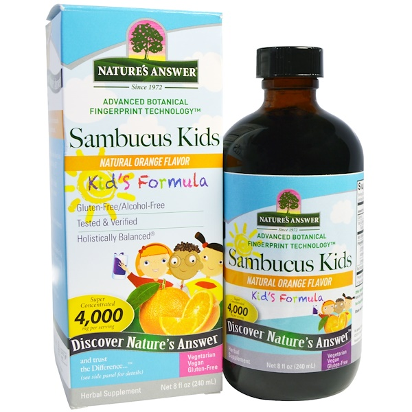 Nature's Answer, Sambucus Kid's Formula, Natural Orange Flavor, 4,000 mg, 8 fl oz (240 ml) (Discontinued Item)