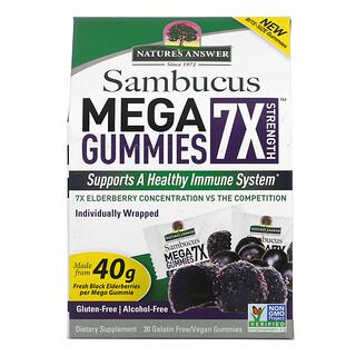 Nature's Answer, Sambucus Mega Gummies 7X Strength, Black Elderberry, 30 Gelatin Free/Vegan Gummies