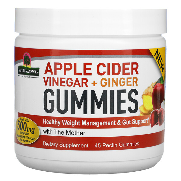 Apple Cider Vinegar + Ginger Gummies with The Mother, 500 mg, 45 Pectin Gummies