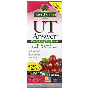 Натурес Ансвер, UT Answer, D-Mannose & Cranberry Concentrate, 4,870 mg, 4 fl oz (120 ml) отзывы покупателей