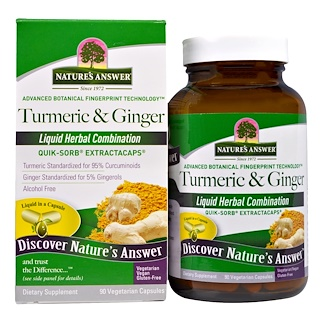 Nature's Answer, Turmeric & Ginger, 90 cápsulas vegetarianas