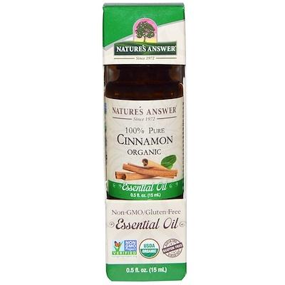 Купить Nature's Answer Органические эфирные масла, масло корицы, 0, 5 жидких унций (15 мл)