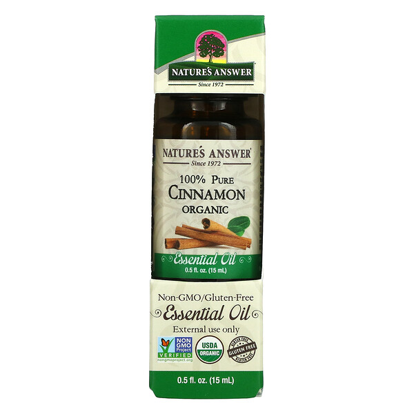 Organic Essential Oil, 100% Pure Cinnamon, 0.5 fl oz (15 ml)