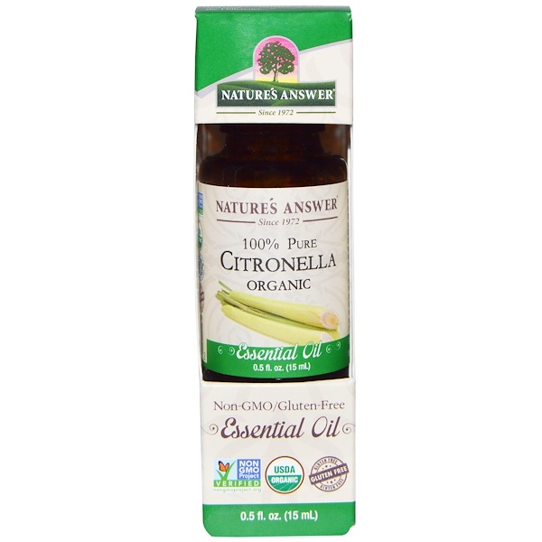 Nature's Answer, Aceite esencial orgánico, 100 % citronela pura, 0.5 fl oz (15 ml)