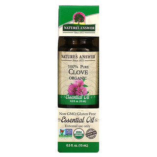Nature's Answer, Organic Essential Oil, 100 % Pure, Clove, 0.5 fl oz (15 ml)
