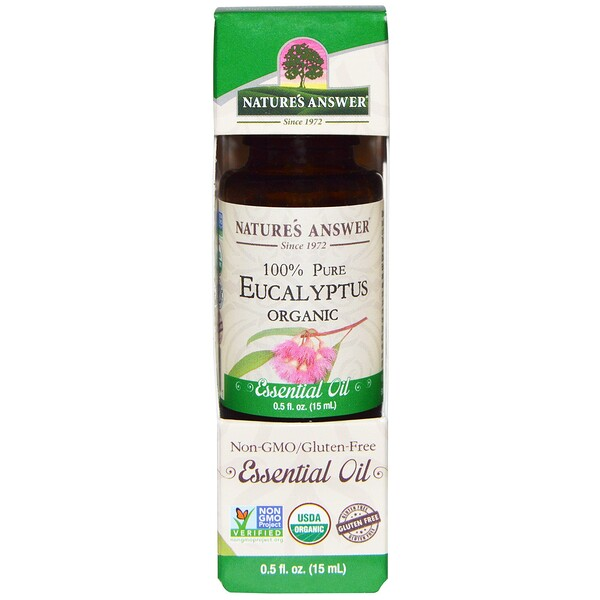 Organic Essential Oil, 100% Pure Eucalyptus, 0.5 fl oz (15 ml)