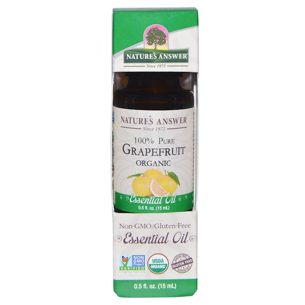 Nature's Answer, Organic Essential Oil, 100% Pure Grapefruit, 0.5 fl oz (15 ml) (Discontinued Item)