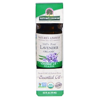 Nature's Answer, Organic Essential Oil, 100% puro de lavanda, 0.5 fl oz (15 ml)