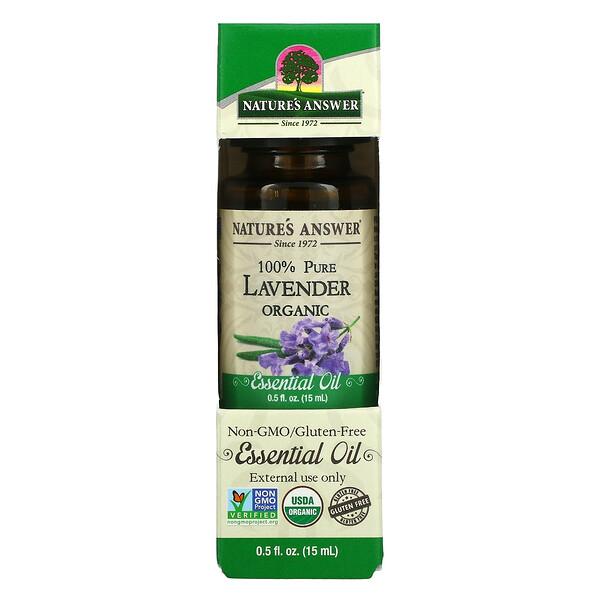 Organic Essential Oil, 100% Pure, Lavender, 0.5 fl oz (15 ml)