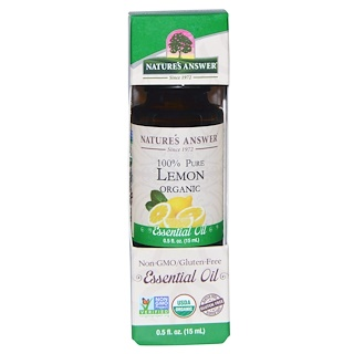 Nature's Answer, Organic Essential Oil, 100% Pure Lemon, 0.5 fl oz (15 ml)