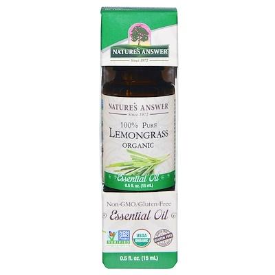 Купить Nature's Answer Органическое эфирное масло, 100% лемонграсс, 15 мл (0, 5 унций)