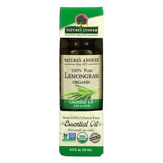 Nature's Answer, オーガニックエッセンシャルオイル、100%ピュアレモングラス、0.5 fl オンス (15 ml)