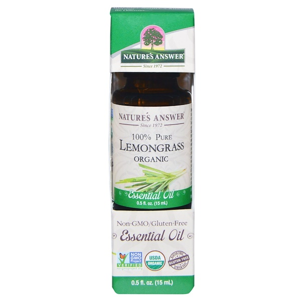Nature's Answer, Organic Essential Oil, 100% Pure Lemongrass, 0.5 fl oz (15 ml)