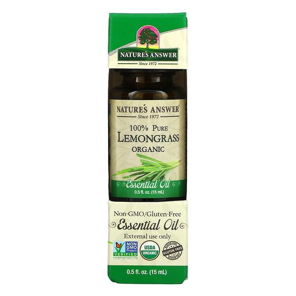 Organic Essential Oil, 100% Pure Lemongrass, 0.5 fl oz (15 ml)
