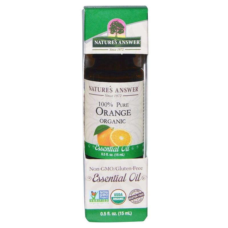 Organic Essential Oil, 100% Pure Orange, 0.5 fl oz (15 ml)