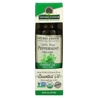 Nature's Answer, 유기농 에센셜 오일, 100% 퓨어 페퍼민트, 0.5 fl oz (15 ml)