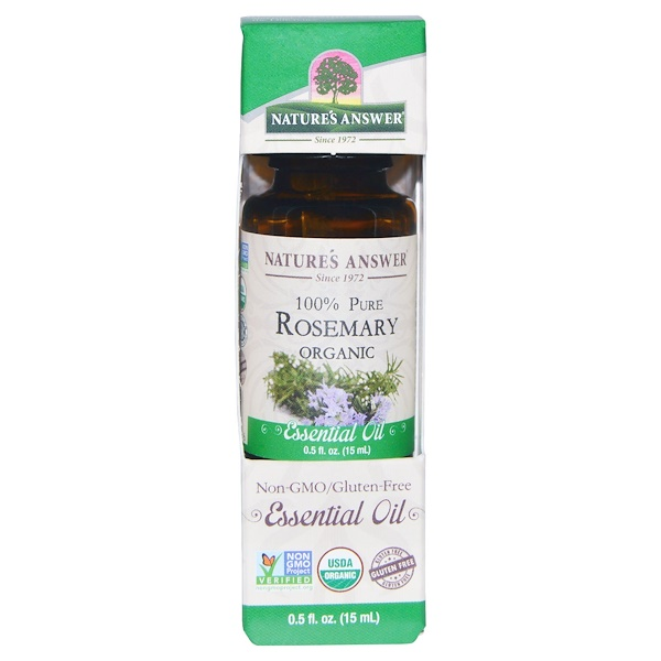 Organic Essential Oil, 100% Pure Rosemary, 0.5 fl oz (15 ml)