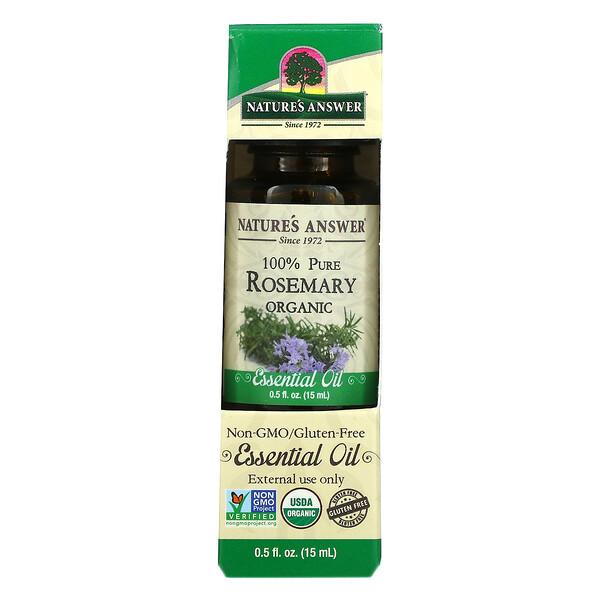 Organic Essential Oil, 100% Pure Rosemary, 0.5 fl oz (15 ml)