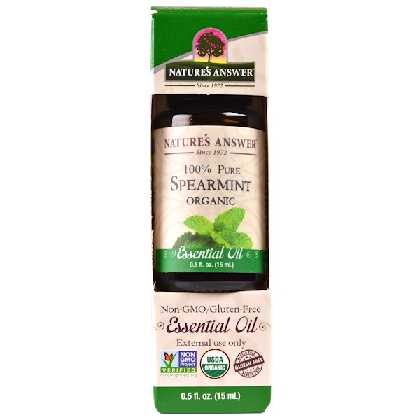 Nature's Answer, Organic Essential Oil, 100% Pure Spearmint, 0.5 fl oz (15 ml) (Discontinued Item)