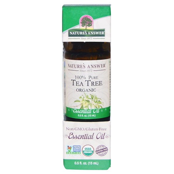 Organic Essential Oil, 100% Pure Tea Tree, 0.5 fl oz (15 ml)