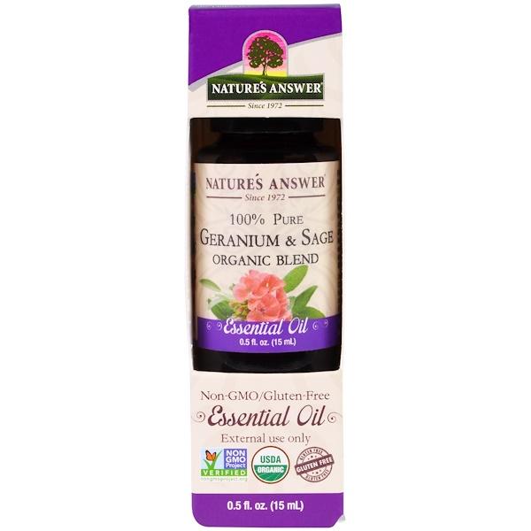 Nature's Answer, 100% Pure, Organic Blend Essential Oil, Geranium & Sage , 0.5 fl oz (15 ml) (Discontinued Item)