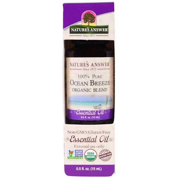Nature's Answer, 100% Pure, Organic Blend Essential Oil, Ocean Breeze, 0.5 fl oz (15 ml) (Discontinued Item)