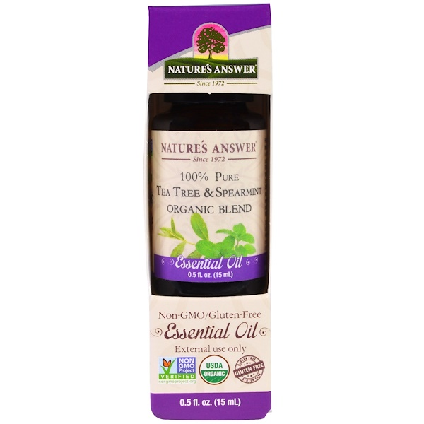 Nature's Answer, 100% Pure, Organic Blend Essential Oil, Tea Tree Spearmint , 0.5 fl oz (15 ml) (Discontinued Item)