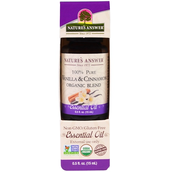 Nature's Answer, 100% Pure, Organic Blend Essential Oil, Vanilla & Cinnamon, 0、5 fl oz (15 ml)