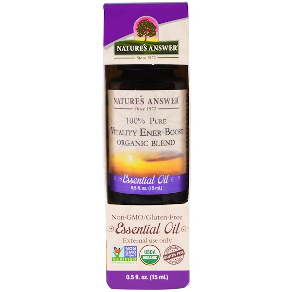 Nature's Answer, 100% Pure, Organic Blend Essential Oil, Vitality Ener-Boost, 0.5 fl oz (15 ml) (Discontinued Item)