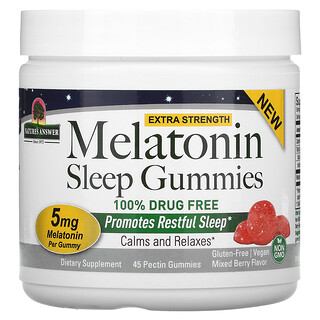 Nature's Answer, Melatonin Sleep Gummies, Extra Strength, Mixed Berry, 5 mg, 45 Pectin Gummies