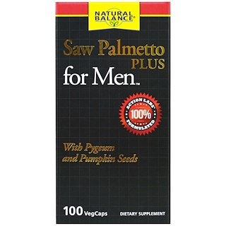 Natural Balance, Saw Palmetto Plus For Men, 100 Veggie Caps