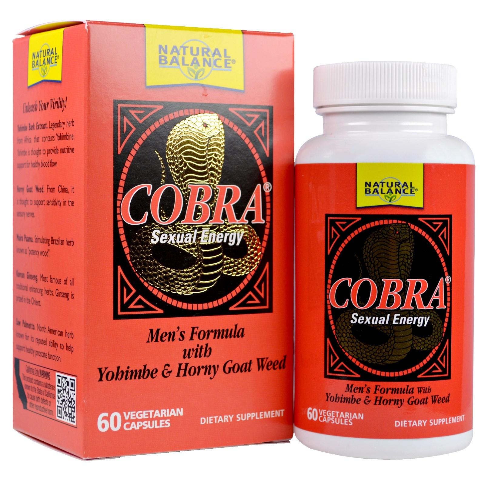 Natural Balance, Cobra, Сексуальная энергия, 60 вегетарианских капсул