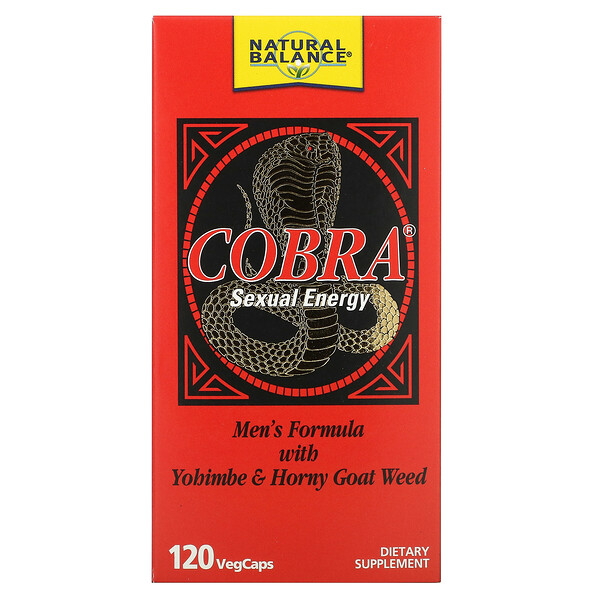 Cobra Sexual Energy, Men's Formula with Yohimbe & Horny Goat Weed, 120 VegCaps