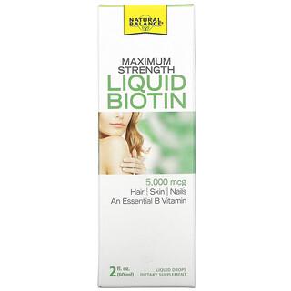 Natural Balance, Maximum Strength Liquid Biotin, Citrus  , 5,000 mcg, 2 fl oz (60 ml)