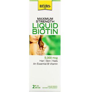 Natural Balance, Maximum Strength Liquid Biotin, Citrus Flavored , 5,000 mcg, 2 fl oz (60 ml)