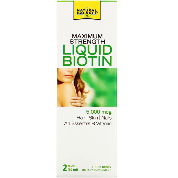 Natural Balance, Maximum Strength Liquid Biotin, Citrus Flavored , 5,000 mcg, 2 fl oz (60 ml)