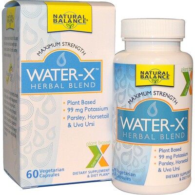 Natural Balance Water-X, Herbal Blend, Maximum Strength, 60 Vegetarian Capsules