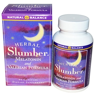 Natural Balance, Herbal Slumber, Melatonin and Valerian Formula, 60 Veggie Caps