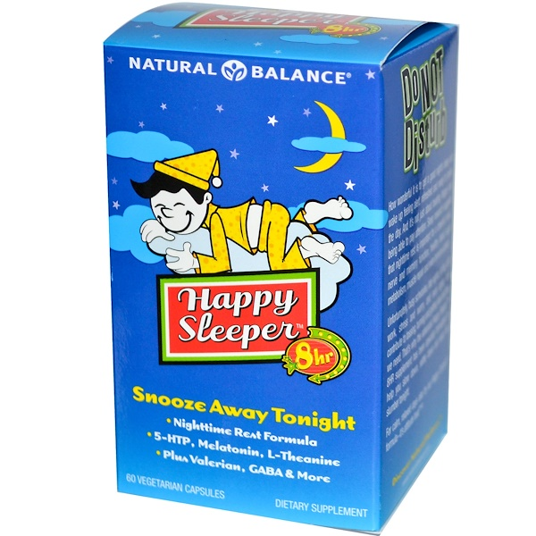 Natural Balance, Happy Sleeper、 8 Hr、ベジキャップ 60 錠