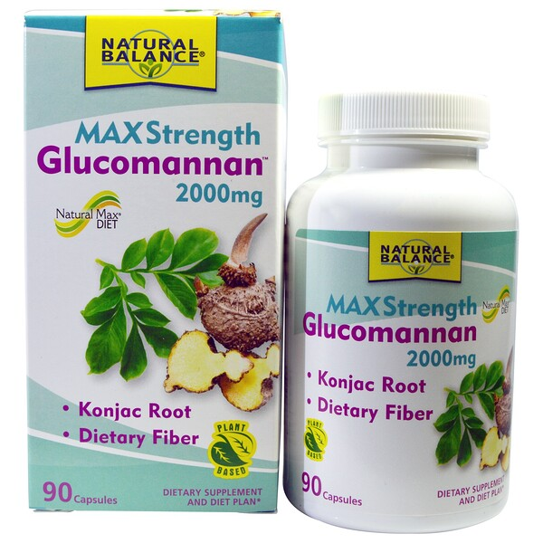 Natural Balance, Glucomannan, Maximum Strength, 2000 mg, 90 Capsules