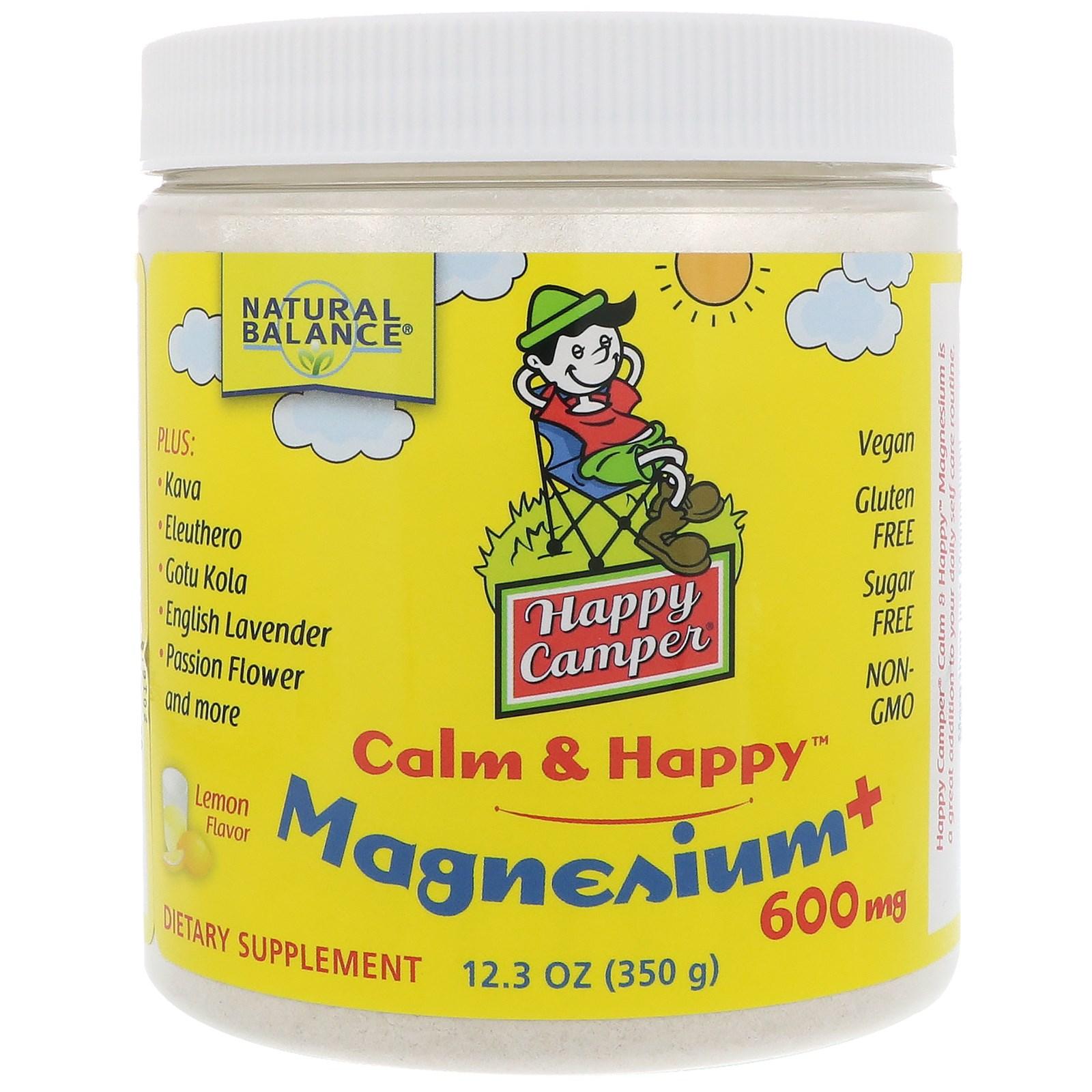 Natural Balance, Happy Camper Calm & Happy Magnesium, Lemon, 600 mg, 12.3 oz (350 g)