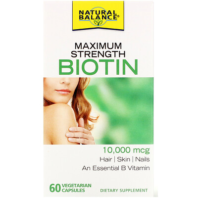 Купить Natural Balance Maximum Strength Biotin, 10, 000 mcg, 60 Vegetarian Capsules