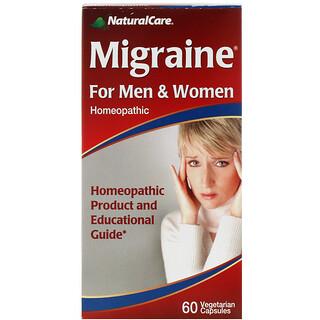 NaturalCare, Средство от мигрени, для мужчин и женщин, 60 капсул