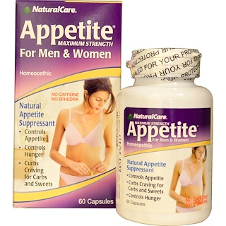 Natural Care, Appetite, Maximum Strength, For Men & Women, No Caffeine, 60 Capsules