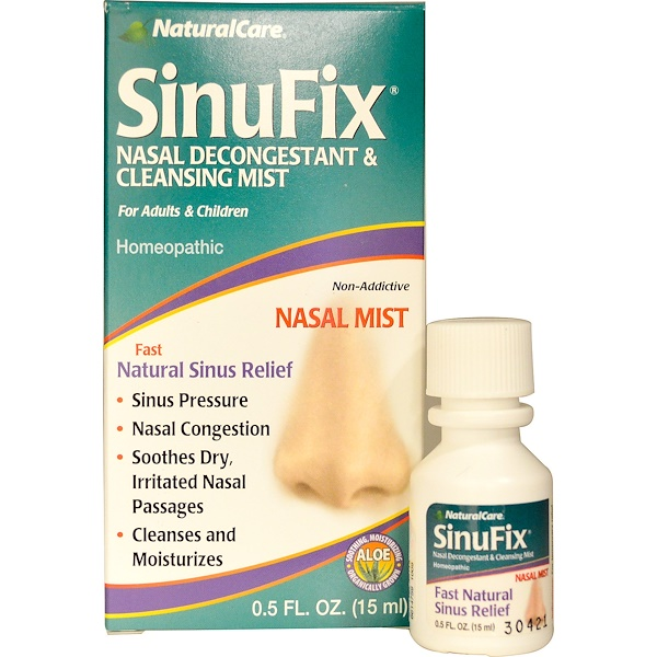 NaturalCare, SinuFix, Nasal Decongestant & Cleansing Mist, 0.5 fl oz (15 ml)
