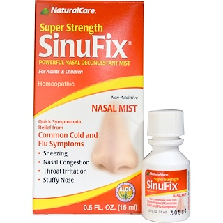 NaturalCare, Super Strength SinuFix, Powerful Nasal Decongestant Mist, 0.5 fl oz (15 ml)