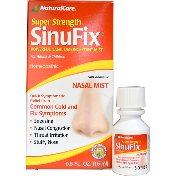 Natural Care, Super Strength SinuFix, Powerful Nasal Decongestant Mist, 0.5 fl oz (15 ml)